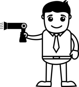 Man With Hair Dryer - Vector Illustration
