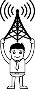 Man With Network Antenna - Vector Illustration