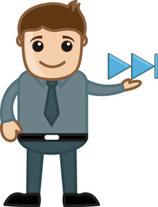 Man With Next Media Button - Business Cartoons Character