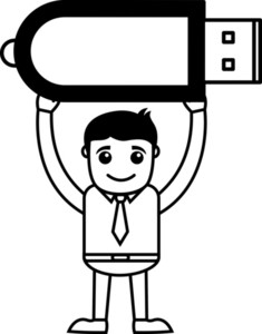 Man With Pren Drive - Data Card - Vector Illustration