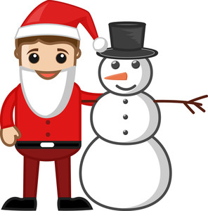 Man With Snowman - Business Cartoon Characters