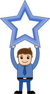 Man With Star - Business Cartoons Character