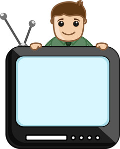 Man With Tv Screen - Vector Illustration