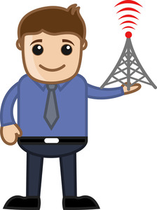 Man With Tv Tower - Vector Illustration