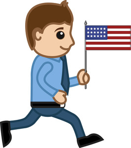 Man With Usa Flag - Cartoon Business Characters
