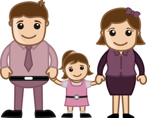 Man Woman And Child - Vector Character Family Illustration