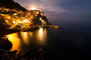 Manarola at night, Liguria, Italy