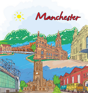Manchester Doodles Vector Illustration