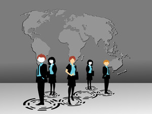 Map Background With Business People