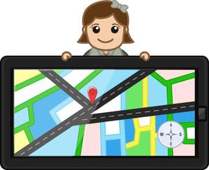 Map In Gps Device - Vector Cartoon