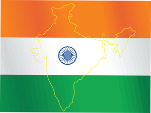Map Outline On Indian Flag