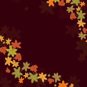 Maple Leaves On Maroon Background For Autumn Season