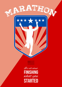 Marathon Runner Finish Run Poster