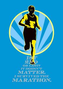 Marathon Runner First Retro Poster