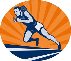 Marathon Runner On Track With Sunburst
