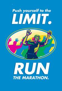 Marathon Runner Push Limits Poster
