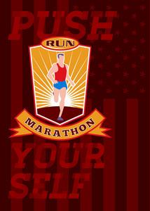 Marathon Runner Push Yourself Poster Front