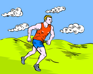 Marathon Runner Running Race Sketch Style