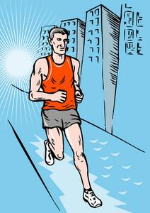 馬拉松賽跑素描風格