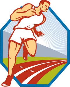 Marathon Runner Running Race Track Retro