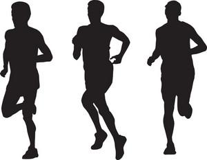 馬拉松運動員跑步的剪影
