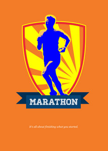 Marathon Runner Starting Run Retro Poster