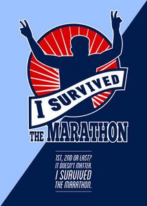 Marathon Runner Survived Poster Retro