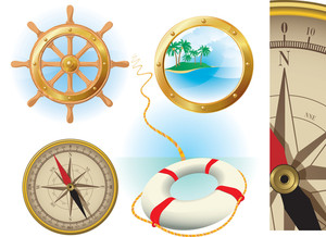 Marine Travel Vector Icons.