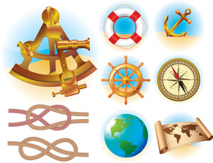Marine Traveling Icon And Symbols Vector Set.
