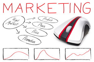 Marketing montage illustrating the basics of target marketing with a computer mouse isolated over white.
