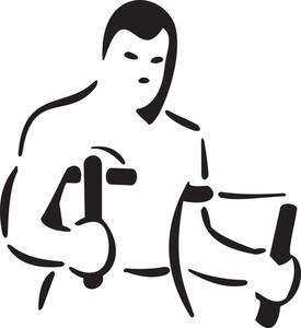 Martial Art Man Holding His Equipment.