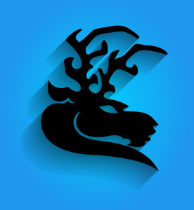 Mascot Reindeer Face Silhouette
