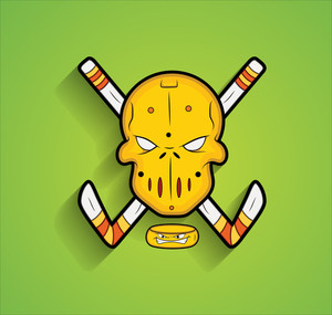 Mask With Ice Hockey Sticks Vector