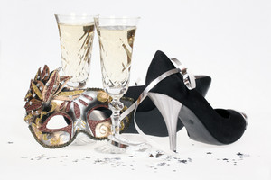Masquerade Mask, Champagne And High Heel Shoes