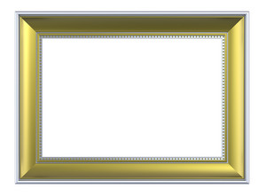 Matt Gold Rectangular Frame Isolated On White Background.
