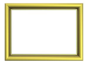 Matt Gold Rectangular Frame Isolated On White Background.
