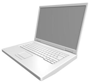 Matt White Laptop Isolated On White.