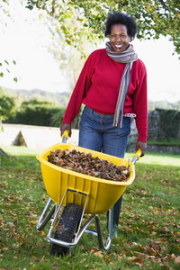 Mature woman collecting autumn leaves in garden