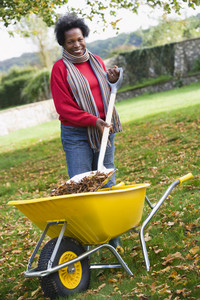 Maturer woman collecting autumn leaves in garden