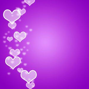 Mauve Hearts Bokeh Background With Blank Copyspace Showing Love And Romance