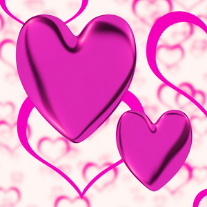 Mauve Hearts On A Heart Background Showing Love Romance And Romantic Feeling