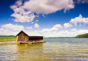 Mazury lake district landscape with fisherman house