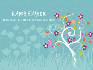 Meadow Background With Decorated Egg