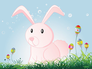 Meadow Background With Rabbit