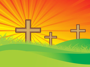Meadow Background With Three Cross