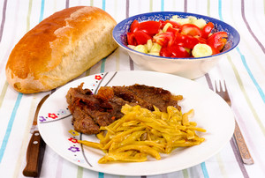 Meat, Vegetables, And Bread