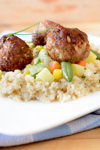 Meatballs And Couscous On Plate
