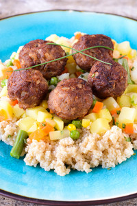 Meatballs And Couscous With Vegetables