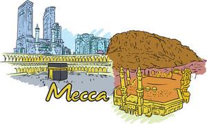 Mecca Vector Doodle