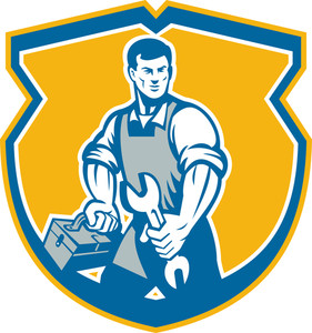 Mechanic Holding Spanner Wrench Toolbox Crest Retro